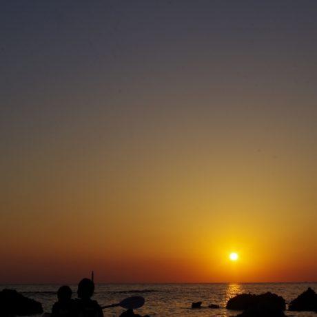夕日とシルエット