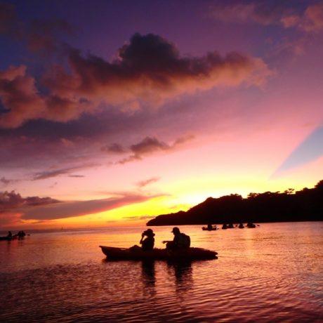赤紫の夕日